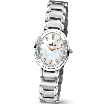 TITONI瑞士梅花錶優雅伊人系列(TQ42921S-DB-531R)-貝殼色/30mm