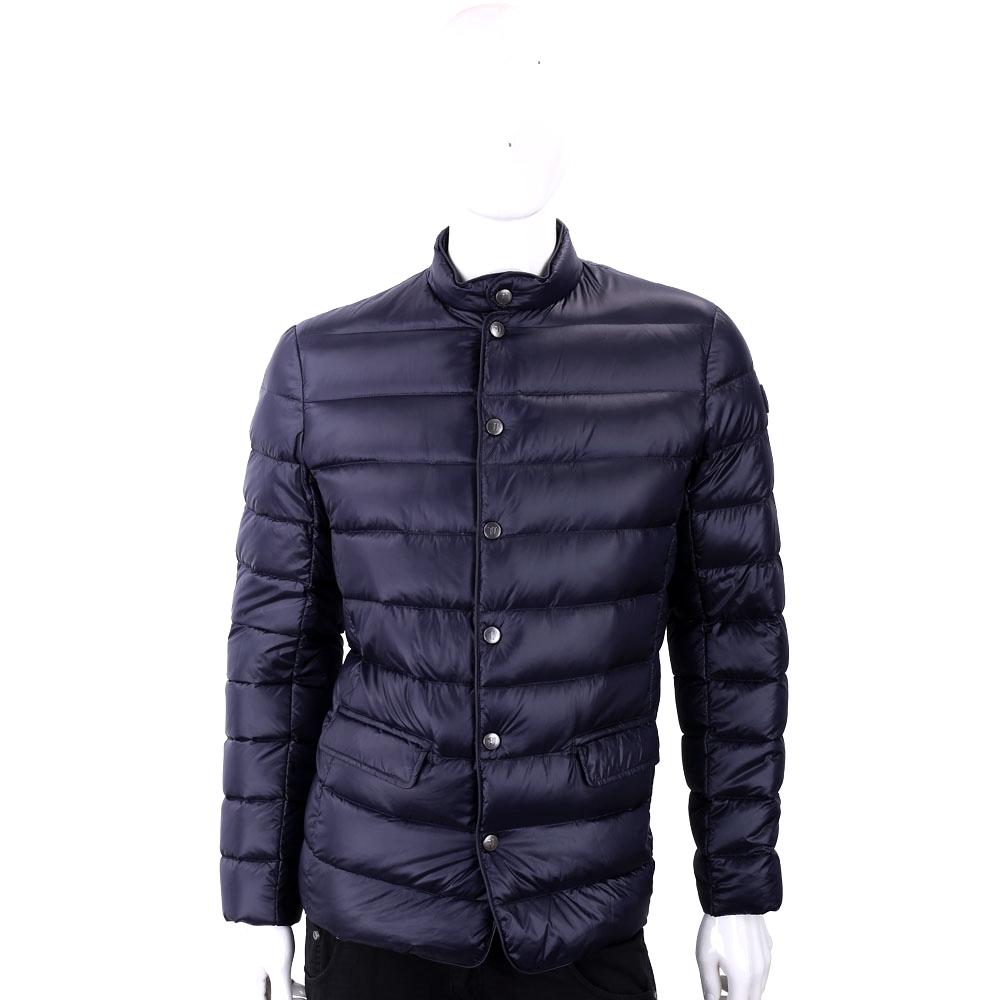 TRUSSARDI 絎縫深藍色立領拉鍊釦式輕羽絨外套