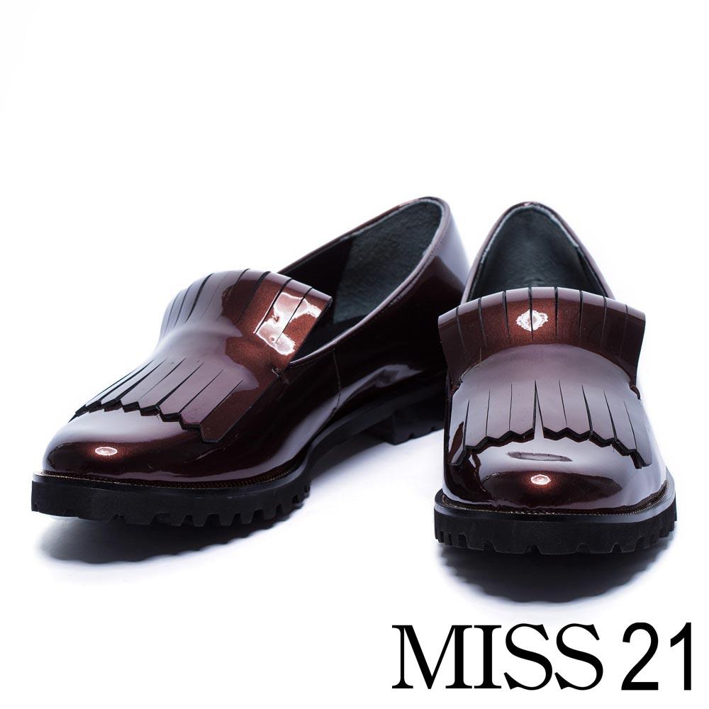 跟鞋 MISS 21 個性亮澤流蘇漆皮感低跟樂福鞋-棕