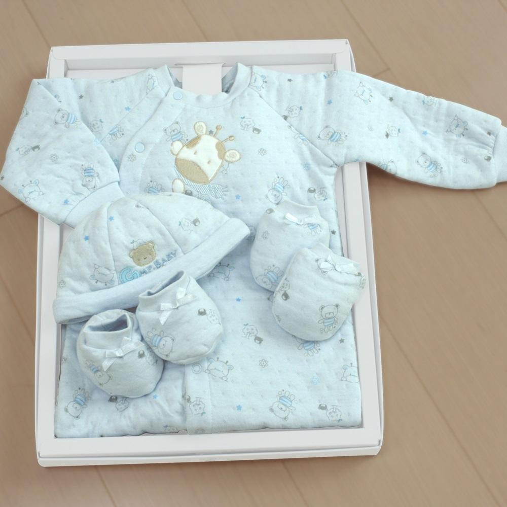 GMP BABY台灣製粉彩夾棉兩用兔裝 藍 彌月禮盒1組