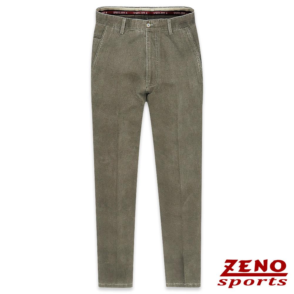 ZENO 簡約厚棉直紋無摺休閒褲‧咖啡30-42