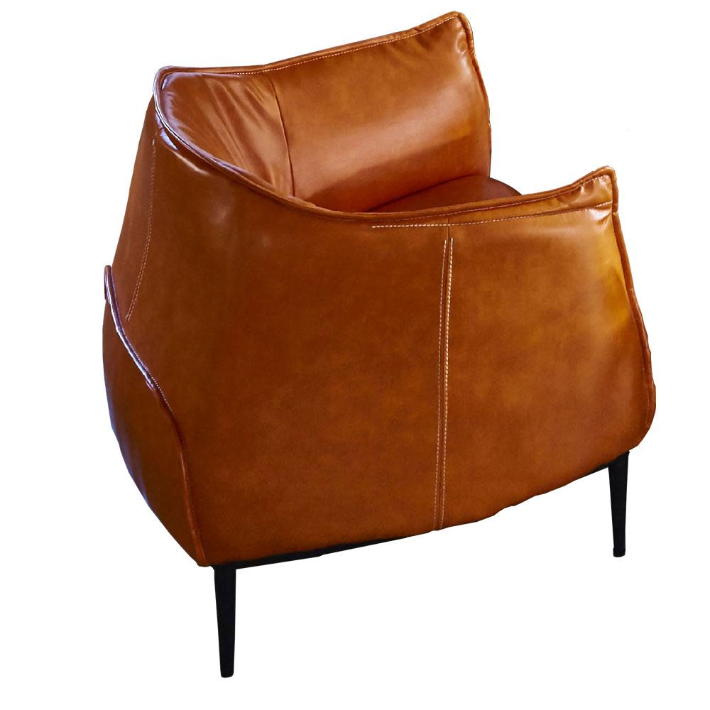 AT HOME-工業風設計實木骨架橘色皮革單人沙發(85*80*75cm)