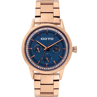 GOTO 亮麗晶鑽時尚三眼手錶(GS 0065 L- 44 -L 41 )-藍x金/ 37 mm