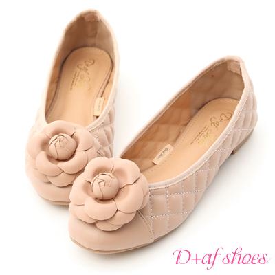 D+AF 復古甜心.小香風山茶花菱格娃娃鞋*粉