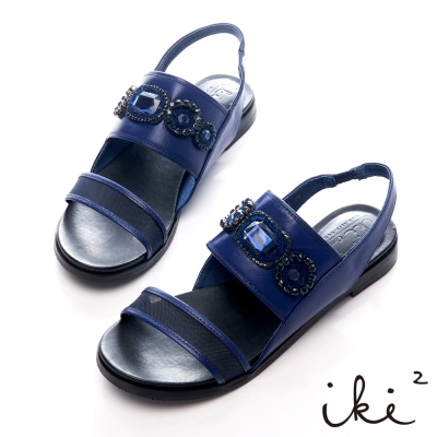 iki2-亮眼吸晴-璀璨寶石風透氣網紗平底涼鞋-時尚藍紫