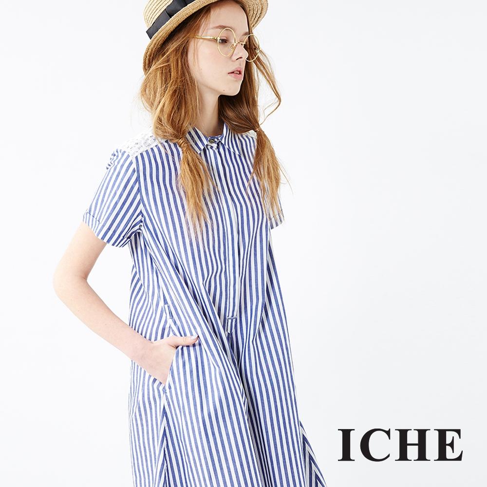 Chaber巧帛 條紋蕾絲襯衫洋裝 兩色