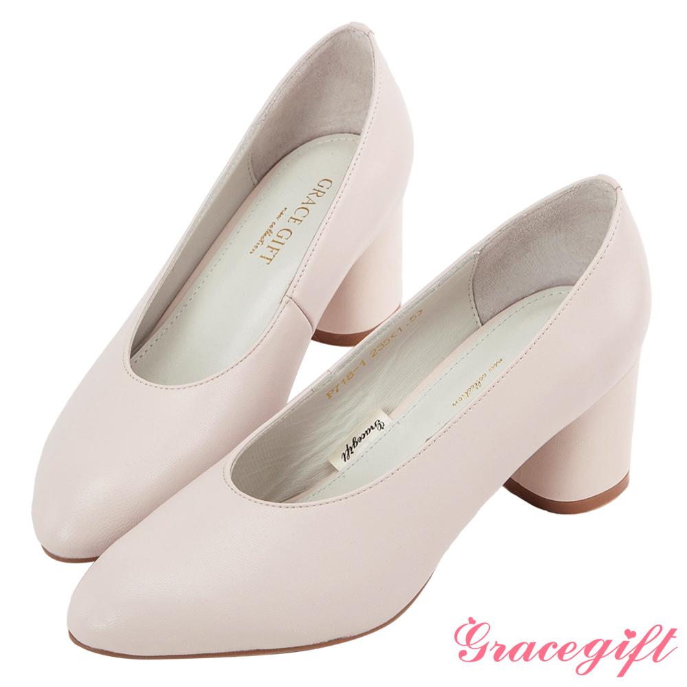 Grace gift-全真皮微尖頭簡約素面跟鞋 米白