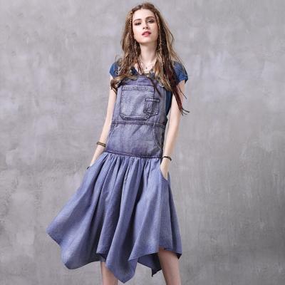 復古時尚吊帶不規則牛仔連衣裙M~L-維拉森林