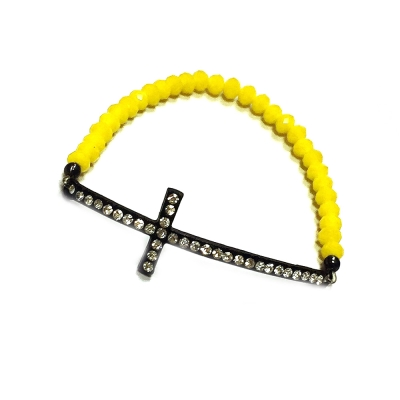 One of A Kind 信念FAITH 鑲鑽十字架 螢光黃水晶 彈性手鍊
