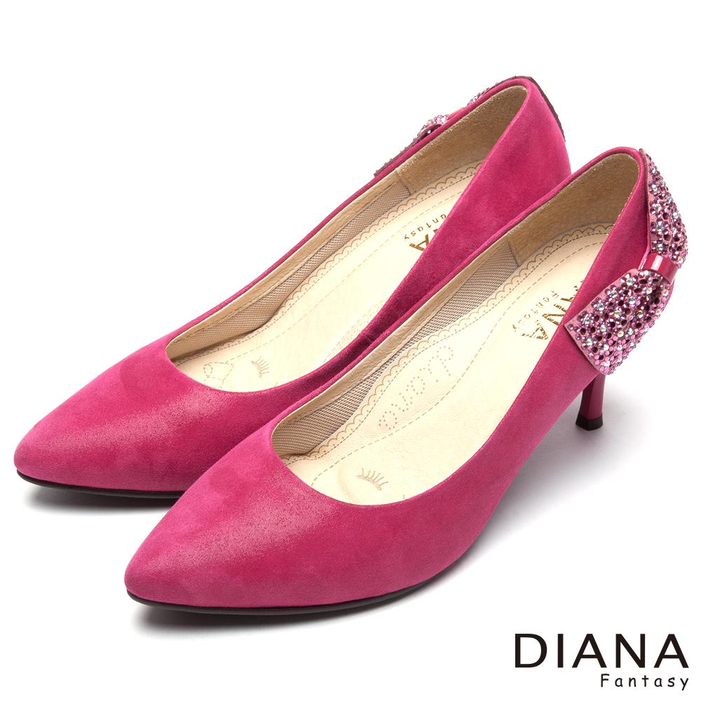 DIANA 風華迷人--水鑽立體蝴蝶結真皮跟鞋-桃