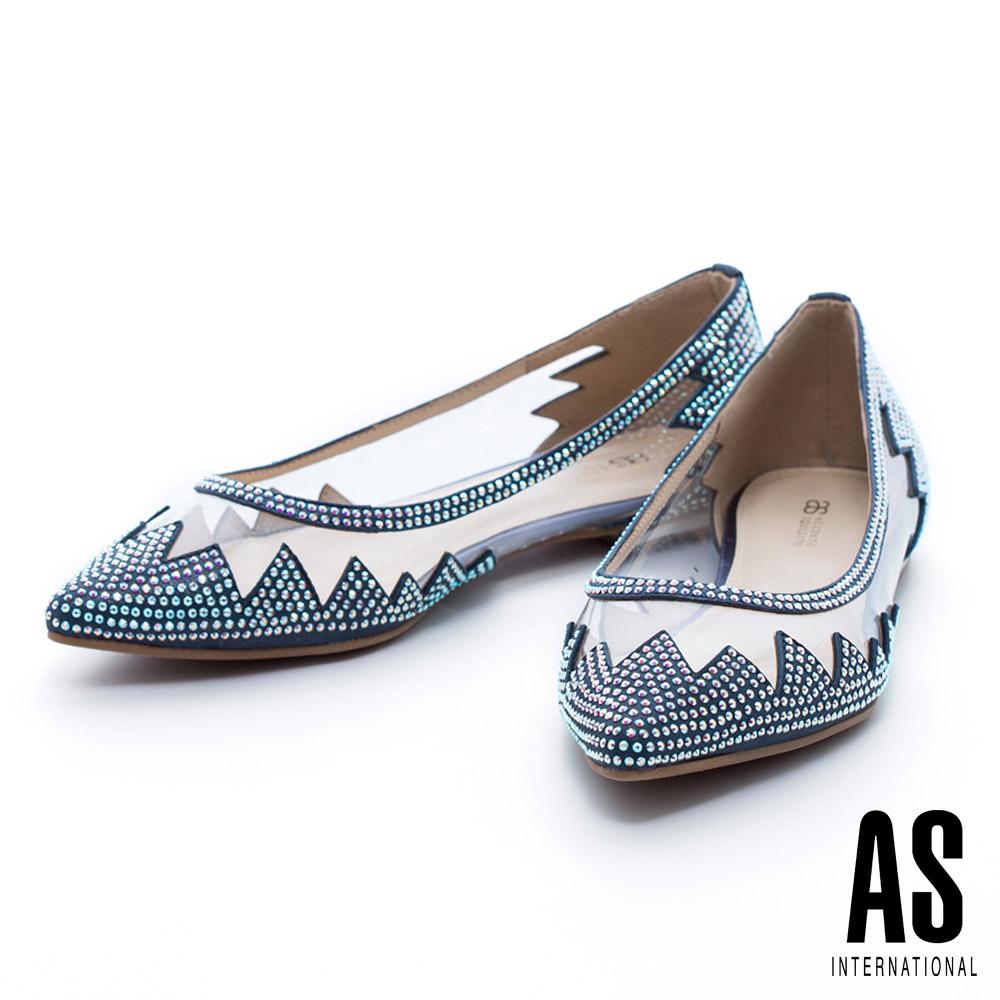 AS 異材質拼接絢艷晶鑽鏤空羊皮尖頭平底鞋-藍
