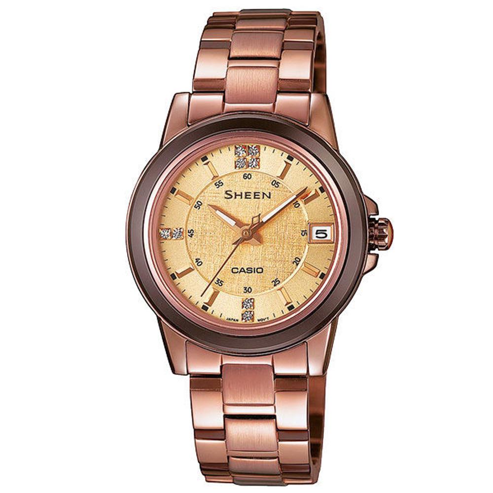 CASIO SHEEN系列 極簡典雅水晶鑽錶-咖啡金-30mm