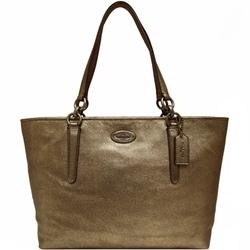 COACH金屬鍊帶荔枝紋皮革肩背托特包-黃銅色