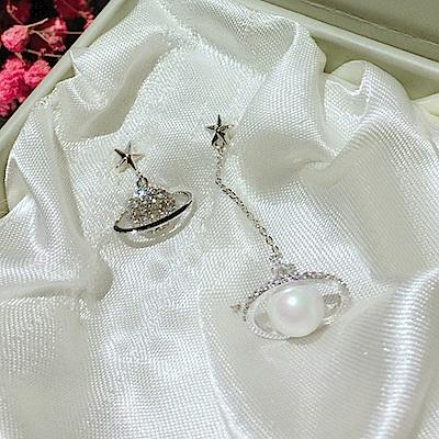 梨花HaNA 925純銀蛋白氣質珍珠耳線不對稱耳環
