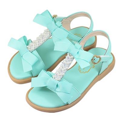 Swan天鵝童鞋-甜美珍珠蝴蝶結T字涼鞋 3843-綠