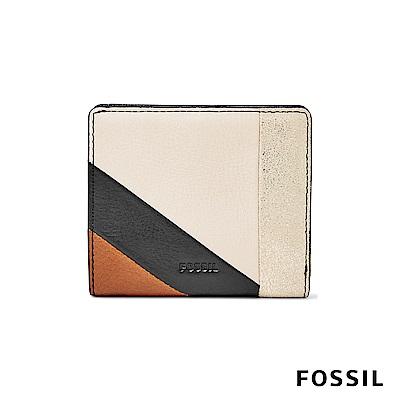 FOSSIL EMMA真皮RFID迷你短夾-簡約色塊