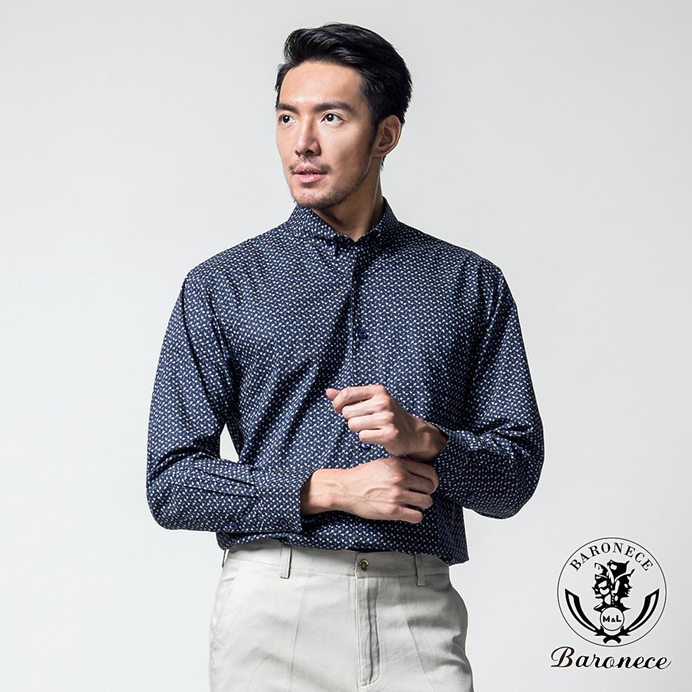 BARONECE 質感品味印花純棉休閒襯衫_深藍(617408-10)