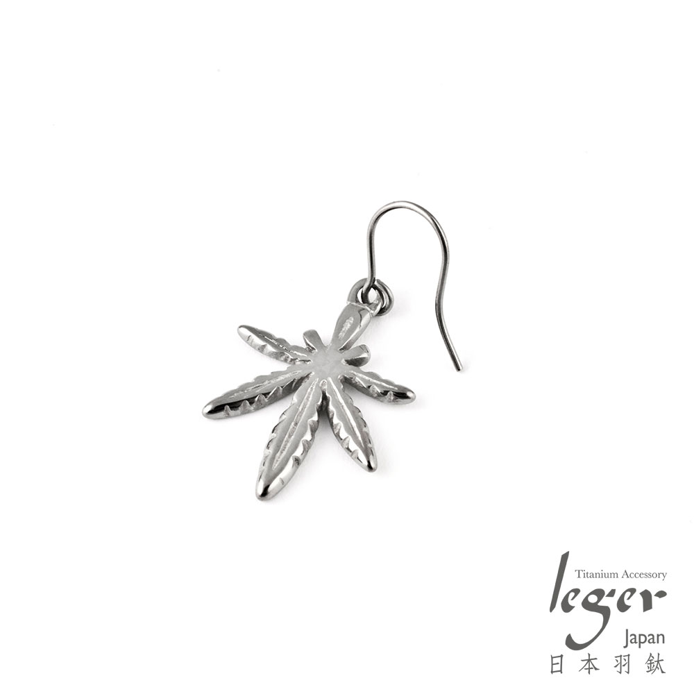 leger日本羽鈦《楓葉》鉤式純鈦耳環(一只)