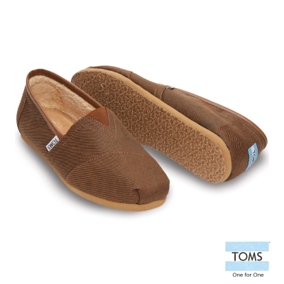 TOMS 經典滾邊內刷毛懶人鞋-男款(褐)