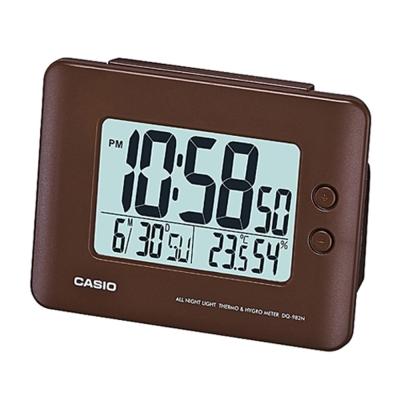 【CASIO 】全方位溫濕度感應貪睡數位鬧鐘(DQ-982N-5D)-咖啡