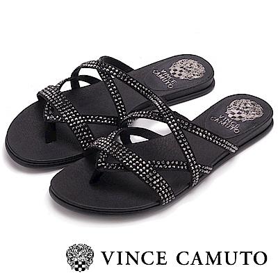 Vince Camuto 羅馬水鑽交錯平底拖鞋-黑色