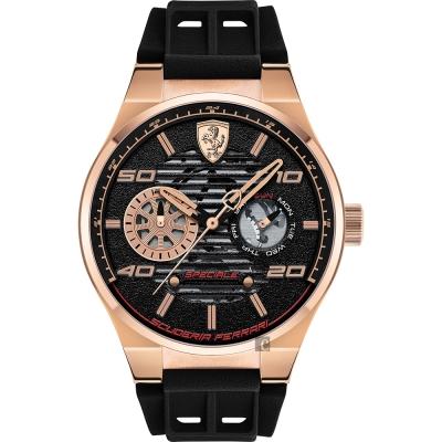 Scuderia Ferrari 法拉利 SPECIALE 日曆手錶-黑x玫塊金/44mm