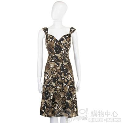 MOSCHINO 咖啡色印花V領洋裝
