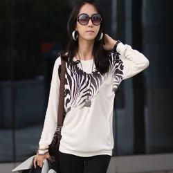 正韓 漸層斑馬紋長袖圓領T恤 (白色)-N.C21