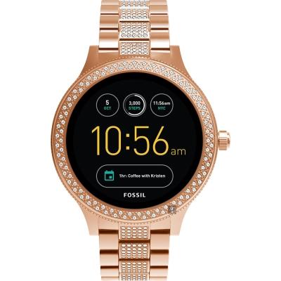 Fossil Q Venture系列觸控智能手錶-黑x玫塊金/42mm