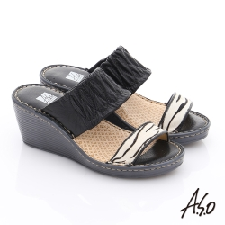 A.S.O 3E寬楦 真皮一字帶楔型涼拖鞋 黑