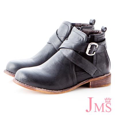 ☆JMS☆注目單品素面交叉扣環短靴-黑