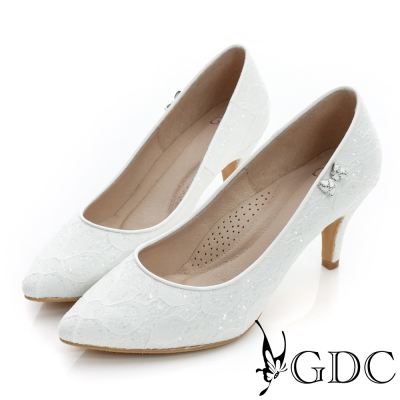 GDC幸福-側蝴蝶飾扣亮片尖頭真皮中跟鞋(婚鞋)-白色