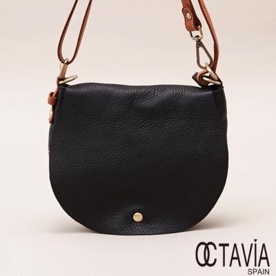 OCTAVIA 真皮 - 世界的半徑 雙色馬鞍半圓斜肩背包 - 棕圓黑