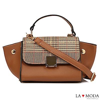 La Moda 設計師Look千鳥紋手提肩背斜背小包水餃包(棕)