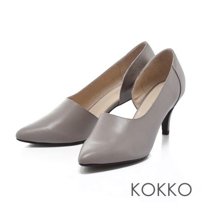 KOKKO經典手工-極簡不對稱高跟踝靴-灰銀