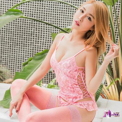 情趣睡衣 粉紅蕾絲馬甲四件組(粉紅F) Moira