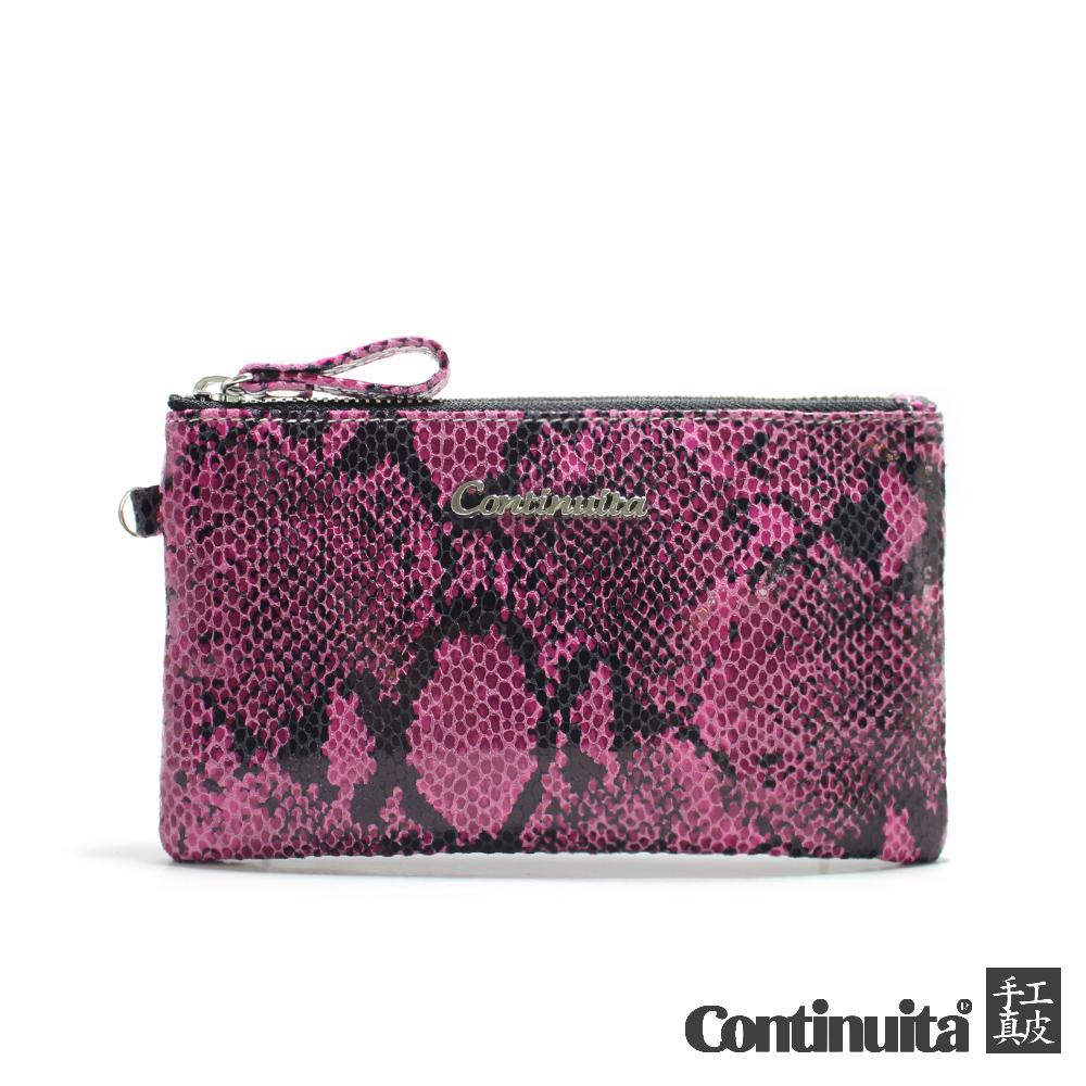 Continuita 康緹尼 經典頭層牛皮萬用手拿包 蜥蜴紋粉紅色