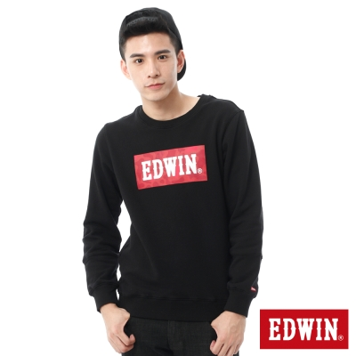EDWIN-迷彩LOGO印花厚長袖T恤-男-黑色