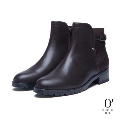 達芙妮x高圓圓-圓漾系列-短靴-馬毛拼接扣帶短靴-酒紅