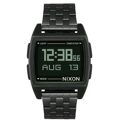 NIXON BASE復古多功能電子腕錶-黑灰x灰