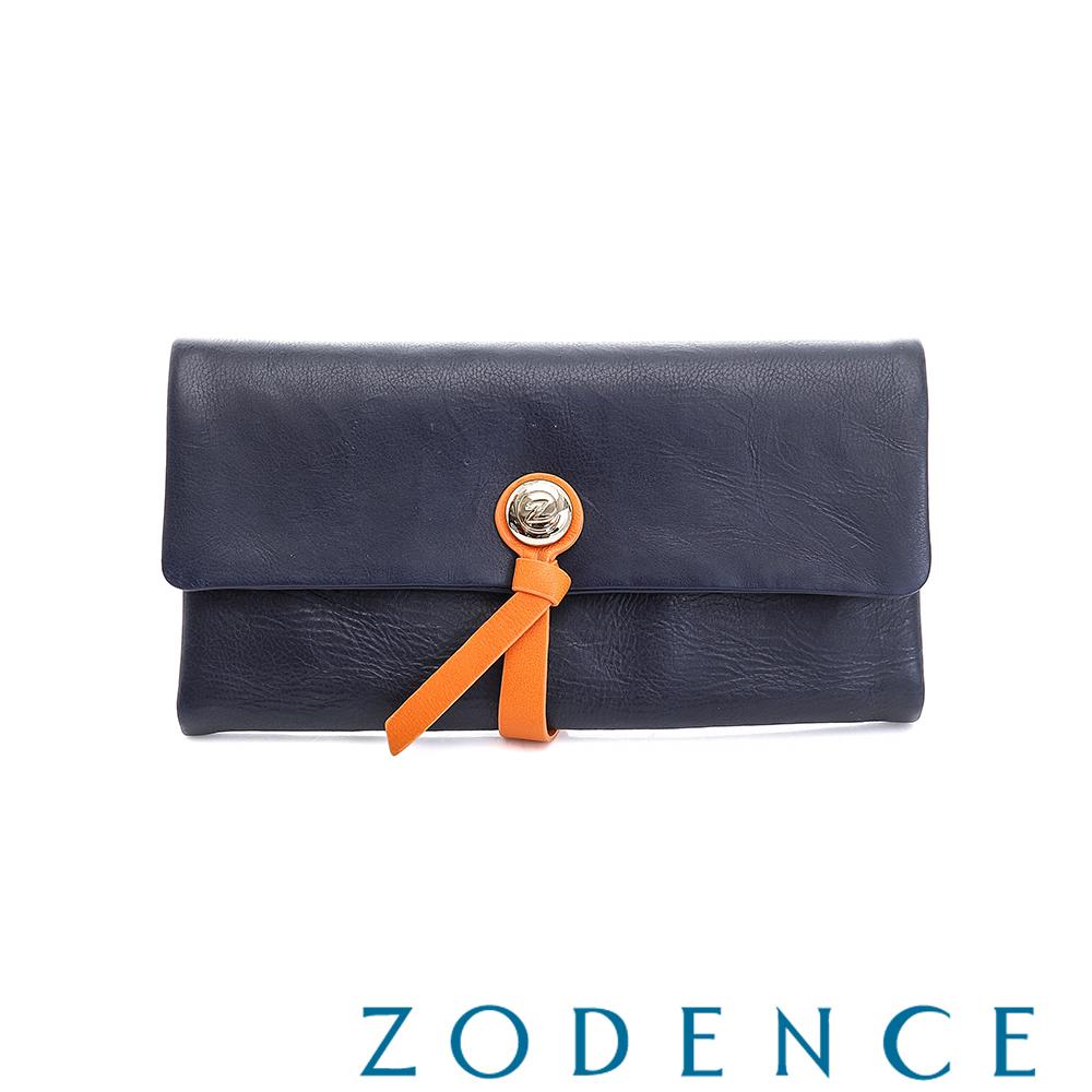 ZODENCE義大利羊皮柔軟繩扣設計長夾 深藍