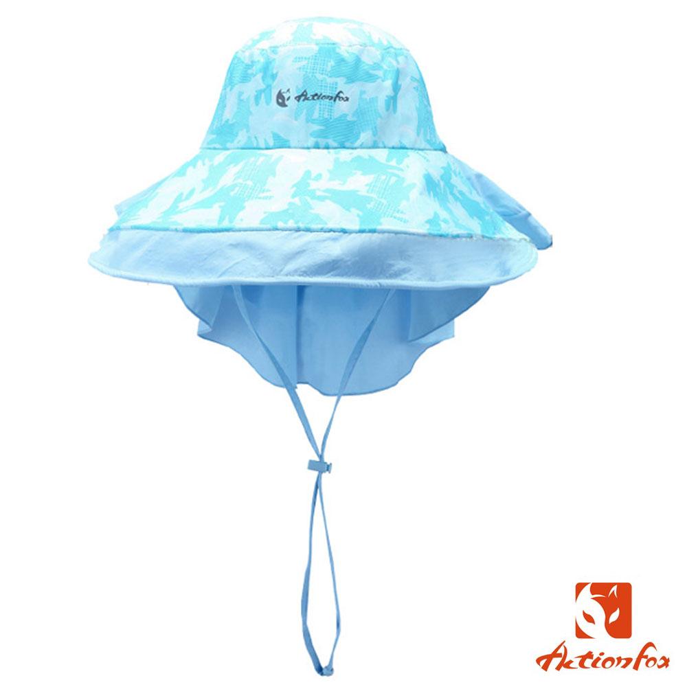 【挪威 ACTIONFOX】女新款 抗UV透氣印花遮陽帽UPF50+_夾花淺藍