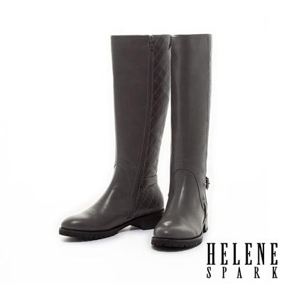 HELENE-SPARK-菱格車線拼接造型時尚粗跟長靴-灰