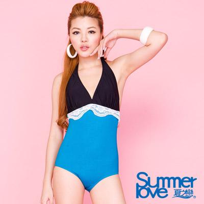 夏之戀SUMMERLOVE 撞色黑藍連身三角泳衣