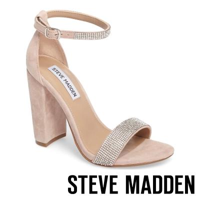 STEVE MADDEN-CARRSON-R 麂皮水鑽一字踝帶粗高跟涼鞋-粉色