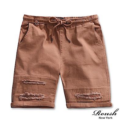 ROUSH 鐵環破損設計彈力水洗短褲 (5色)