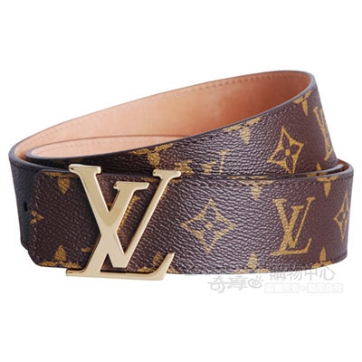 LV【M9608U】經典monogram帆布雙面字母金扣皮帶(90cm)
