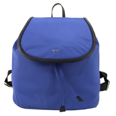 agnes b.皮革飾邊翻蓋束口後背包(藍)