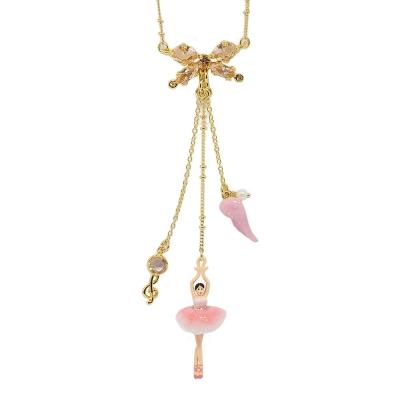 Les Nereides 優雅芭蕾舞女孩系列 粉色女孩音符羽毛蝴蝶結項鍊