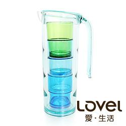 LOVEL時尚餐廚系列-冰晶冷水壺杯5件組(1.6L)
